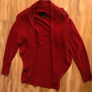 Cynthia Rowley Cashmere Red Cardigan Long Sleeve